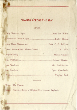 Two One Acts: Hands Across the Sea/Where the Cross Is Made (no program)